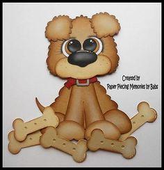 Paper piecing Cachorro PREMADE para páginas de scrapbook Babs