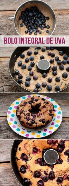 Bolo integral de uva - Uma receita deliciosa, cheia de cor e sabor. Faça esse delicioso bolo de uva na sua casa. A receita é perfeita para o seu café da manhã, piquenique e café da tarde. Confira a receita.