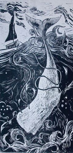 Moby Dick Woodblock Print by Erika Gallagher, via Behance // Story book scenes on chalkboard? Linocut Prints, Art Prints, Block Prints, Moby Dick, Illustration Art, Illustrations, Botanical Illustration, Plakat Design, Pointillism