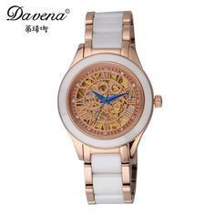 Cheap davena, Buy Quality davena watch Directly from China Suppliers:New Automatic Self-wind Hollow Out Gear Skeleton Watches Fashion Casual Ceramic Watch Women's Dress Wristwatch Best Davena 60668