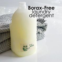 Borax-Free Liquid Laundry Detergent for sensitive skin. Ingredients: 1/4 cup super washing soda, 1/4 cup grated Castile soap, 1/4 cup grated Fels-Naptha, 4 cups hot water, essential oils