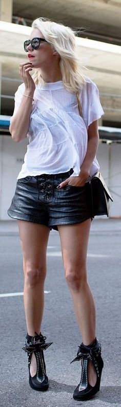 #summer #shorts #trend #outfitideas | Black Women's Front Lace Up Croc Leather Shorts                                                                             Source
