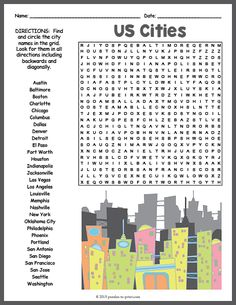 Help yourself or your students to learn about US Cities with this challenging word search puzzle free for you to print. Word Puzzles For Kids, Math Activities For Kids, Writing Activities, Kids Learning, Kids Word Search, Free Word Search, Word Search Puzzles, Free Printable Word Searches, Free Printable Puzzles