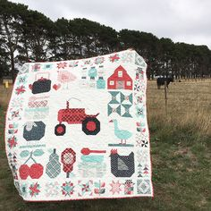 I started this quilt when the Farm Girl Vintage book sew along started back in May The tractor block was always going to be the star of the quilt, with all the other blocks set around it. Working out how to set the x block amongst. Baby Sewing Projects, Quilting Projects, Quilting Designs, Quilting Ideas, Tractor Quilt, Farm Quilt, Mini Quilts, Baby Quilts, Scrappy Quilts