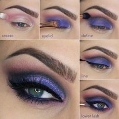 Ya no le tendrás miedo al morado con este maquillaje. | 15 Tutoriales de sombras para todas las amantes del maquillaje
