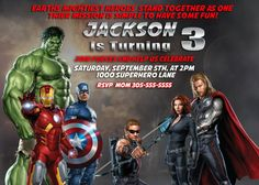 MARVEL AVENGERS Birthday Party Invitation by twotwelvedesigns 500