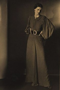 Gwynneth Stone, 1942(Olive Cotton) 30s 40s pants pantsuit couture fashion photo print ad model