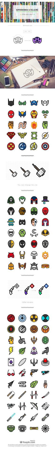 The Flat Superheroes & Villains Icon Set (100 Icons, PNG & SVG)