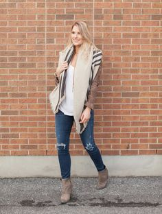 suede moto jacket outfit - blanket scarf outfit - distressed denim