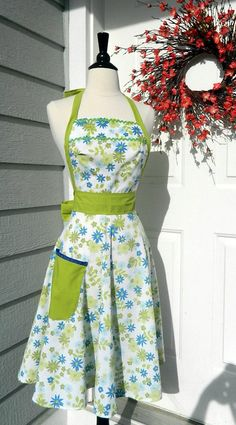 UpCycled Women's Apron  Blue and Spring Green by DrapesofWrath, $35.00