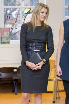 Queen Maxima of The Netherlands visits the Liduina school for a music on schools project in The Hague, The Netherlands on December Estilo Real, Royal Dresses, Nice Dresses, Royal Fashion, Fashion Looks, Copenhagen Fashion Week, Queen Dress, My Fair Lady, Queen Maxima