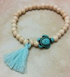 Excited to share the latest addition to my #etsy shop: Turquoise Turtle Charm Tassel Stone Bracelet Elastic 7.5 Inches http://etsy.me/2DE251i #jewellery #bracelet #blue #turquoise #turquoiseturtle #turtlecharm #turquoisebracelet #blisswarriorcharms #mala