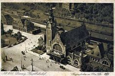 Old Postcard, Gdansk - Danzig - Station