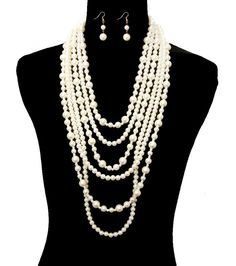 PEARL MULTI LAYERED NECKLACE AND EARRING SET ONLY $17.88