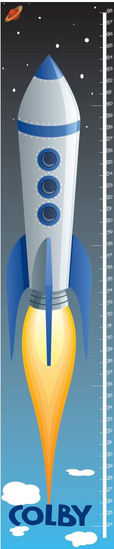 Childrens SPACE ROCKETSHIP THEME growth chart by RushWorksGraphics, $30.00