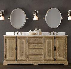 French Casement Oak Double Vanity Sink