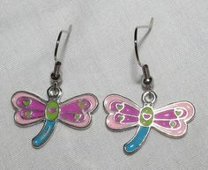 Bright Colorful Dragonfly Handmade Earrings by CraftyChic90, $2.50