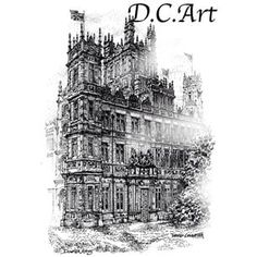 Pen and ink version of the #downtonabbey estate. @downtonabbey #art  #cityscapes #toronto #landmark #art #artist  #Illustrator  #davidcrighton  #torontoart #architecture. #building #personalized #landscapes #gifts #affordable