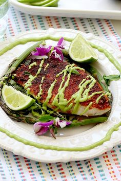 White fish, rockfish, baked in the best blackened seasoning recipe, dressed in avocado fish taco sauce! Pair this rockfish over vegetables or in fish tacos. Taco Sauce Recipes, Fish Taco Sauce, Seafood Recipes, Dinner Recipes, Cooking Recipes, Cooking Tips, Tilapia Recipes, Seafood Dishes, Pork Recipes