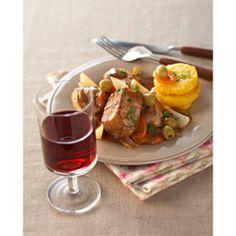 Navarin de veau aux olives et un vin de pays d'Oc 2004