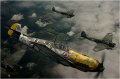 Close Escort - Messerschmitt Bf-109E-4 of Hauptman Hans von Hahn, Gruppenkommander of I/JG.3 'Udet', escorting a He-111 formation over England, Summer. By Wiek Luijken.