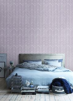 Self adhesive vinyl temporary removable wallpaper, wall decal - Chevron pattern print  - 026 PARIS/ SNOW