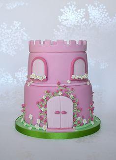 Pink Princess Castle Cake, via Flickr. Love love love the spiral roses.