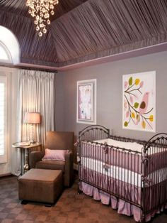Romantic purple nurseries. Continuing with the purple theme, this elegant nursery mixes shiny and dull materials.
