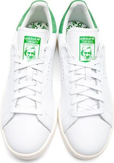 Raf Simons X Sterling Ruby: White & Green Stan Smith Adidas Edition Sneakers