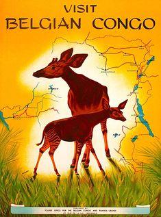 Visit Belgian Congo - Okapi by Miessen Retro Poster, Poster Ads, Tourism Poster, Movie Posters, Belgian Congo, Pub Vintage, Kunst Poster, Okapi, Travel Images