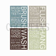 Only 4 $ to download these large prints. Cute Bathroom art Brush Flush Wash Hang