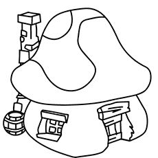 The smurfs coloring pages page 7 of 10 free printable for Smurf house coloring pages