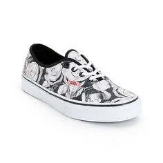 ac9b5276a9 Step into a feminine and timeless look with the Vans Authentic Digi Roses  Black and White