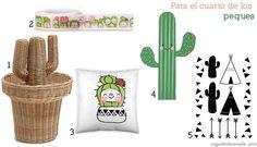 decorar con cactus / decorate with cactus whasi tape - cojín - cushion @charuca vinilo - vinyl @kenayhome cesta mimbre - wicker basket @zarahome