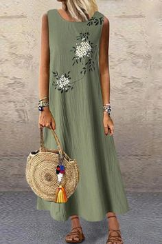 Gracila Flower Print Sleeveless Women Loose Summer Dress With Pocket is high-quality, see other cheap summer dresses on NewChic. Cheap Summer Dresses, Cheap Maxi Dresses, Summer Dresses For Women, Loose Dresses, Sleeveless Dresses, Women's Dresses, Fashion Star, Women's Fashion, Womens Swing Dress