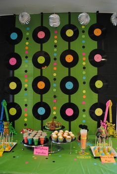 """switch up to pictures in large squares of twins and intersperse with little dr. seuss """"book covers"""" that we make on the inbetween colored dots (or whatever the inbetween lines are).: (decorating with rocks party ideas) 50s Theme Parties, 80s Birthday Parties, Music Themed Parties, Birthday Party Themes, 5th Birthday, Birthday Backdrop, Birthday Ideas, Dance Party Themes, Birthday Desert"""