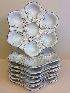 Antique-Limoges-Haviland-Porcelain-Set-of-7-Oyster-Plates-circa-1880-France