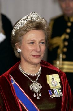 The Duchess Of Gloucester Wearing Queen Mary's Honeysuckle Tiara with it's diamond center piece