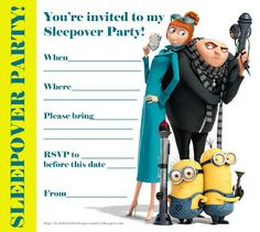 Despicable Me free, printable party invitations for a sleepover party. So if you love banana, the Minions and if you love Gru - and you're h...