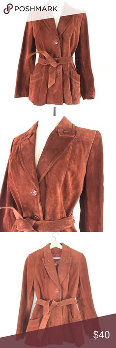 """1970s suede rust orange jacket 🍊VTG belted coat dreamy 1970s leather jacket! buttery soft rust colored suede, buttons up, belted, tapered fit. fully lined, there is a tear in the lining - see photos. although there are some strains throughout, it is still a beautiful vintage jacket! I think after a trip to the dry cleaners it would look much better  LABEL: brand - Learsi size listed - 7/8 made of leather  dry clean only made in Argentina  MEASUREMENTS: laying flat buttoned 27.5"""" length 17""""…"""