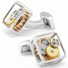 Tateossian Gear Rhodium Cufflinks