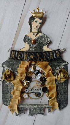 Shaker Memorydex Card created by Brenda Enright using Character Constructions Doll Stamps by Catherine Moore. Belle Epoque Collection.