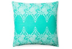 Love the look of the paisley along the top and bottom edges. Could do this with plain fabric and stencil on the pattern. Monterey 20x20 Cotton Pillow, Teal on OneKingsLane.com
