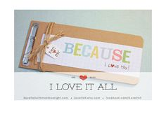 Because I Love You Anniversary Birthday Wedding Engagement Marriage Love Coupon Book . Father's Day Mini Album Card  // Under 15 Gift