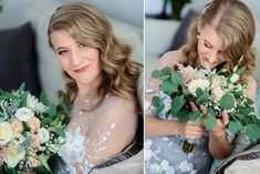 A stunning grey wedding dress with white lace flowers that goes very nice with a greenery bridal bouquet, designed by Oana Lupas Bridal Flowers, Lace Flowers, Flower Bouquets, Greece Wedding, Gray Weddings, Bridal Portraits, Beautiful Bride, Romania, Photographers