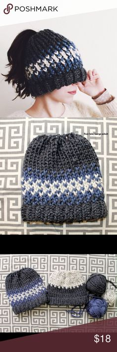 """Messy Bun/Ponytail Knit Hat Wear your hair in a bun or ponytail and still get to enjoy a cozy hat. Fair isle design, handmade with soft, 100% acrylic yarn. Adult size, fitting most: 21""""-23"""". **brand category for exposure** Anthropologie Accessories Hats"""
