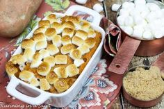 This one's the real deal! Butter, brown sugar and fresh mashed sweet potatoes all topped with melted marshmallows! Hi guys! My
