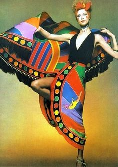 Ann Schaufuss wearing a dress by Chloe, 1971. Photo Clive Arrowsmith.