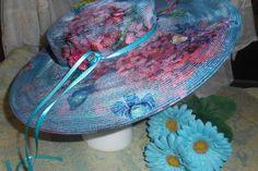 Blue Rhapsody Vintage Hand Painted Hat by RoseManorGiftsandArt
