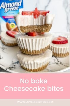 My favorite summer treat! Try these delicious no-bake cheesecake bites, made with @almondbreeze Unsweetened Vanilla Almondmilk! #ad Dairy Free Cheesecake, No Bake Cheesecake, Cheesecake Bites, Non Dairy Cream Cheese, Non Dairy Butter, Desserts To Make, No Bake Desserts, Healthier Desserts, Healthy Snacks